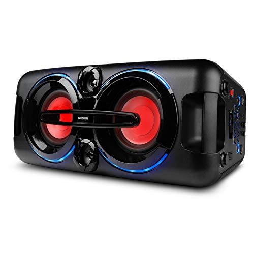 MEDION P67013 Party-Soundsystem mit Bluetooth 2.1 (Kompaktanlage, 440 Watt, 2 x 22 Watt RMS, PLL UKW Stereo Radio, 2X USB, Aux, Mikrofonanschluss, Karaoke)