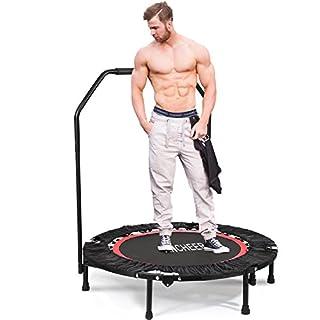 ANCHEER Fitness Erwachsene Trampolin, 40 Zoll Rot Neigung 15° Trampolin Leise Gummiseilfederung, Höhenverstellbarer Haltegriff Mit Springende Matte Trampolin,Belastbarkeit 100/135 Kg