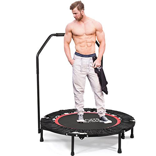 ANCHEER Fitness-Trampolin, Indoor/Outdoor, leise Gummiseilfederung, Höhenverstellbarer Haltegriff, Trampolin für Jumping Fitness, Nutzergewicht bis 100kg/135kg, Ø 40inch (40Zoll-Rot-Neigung 15°) preisvergleich