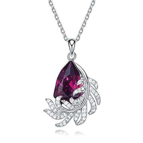 Z&HA 925 Sterling Silber Damen Halskette Simulation Rubin Feder Anhänger Swarovski Kristall Schmuck Für Mädchen, Mütter, Freundinnen