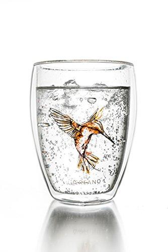 Tasse de thé à double paroi ''Hummi'' Creano, Latte Macchiato, verre isotherme avec colibri, 250ml, couleur orange