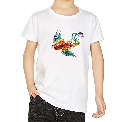 Phoenix Pattern T-Shirt, Erwachsene Kinder Frauen Mann Lässig Rundhals Kurzarm Modal Tee Top(XL-Junge) (Und Süßigkeiten Reichlich Gut)
