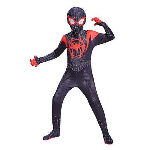 AKCHIUY Halloween Spiderman Kostüm Kinder,Halloween Fasching Superheld Spandex Jumpsuits Film Requisiten,Child-XS