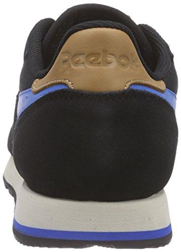 Reebok Classic Leather Utility, Chaussures de Course Homme Noir - Schwarz (Black/Blue Sport/Stucco)