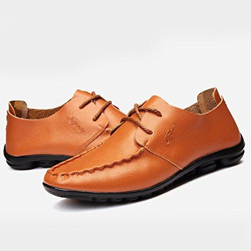 Homme mocassin loafers lacet chaussure de ville à lacet voiture conduite slip-on flâneur passant soulier derby plat légère Jaune