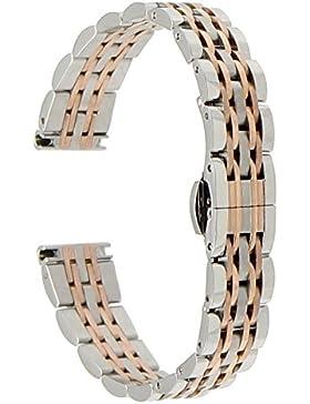 TRUMiRR 14mm Edelstahl Uhrenarmband Butterfly Buckle Strap Damen Armband für Pebble Time Round 14mm