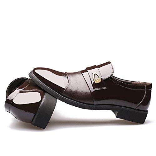 GRRONG Herren-Leder-Schuhe Geschäft Spitz Formal Kleid Geschäfts-Schwarz-Braun Brown
