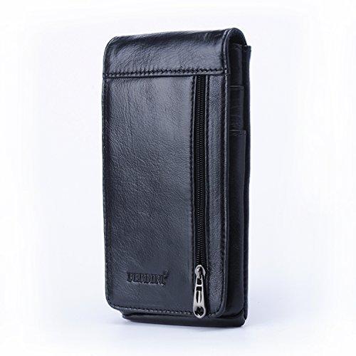 iPhone 6 Plus Guerteltasche, Echt Leder Klein Handytasche Gürteltasche Bauchtasche Telefonkasten mit Reißverschluss Kartenfächer - Schwarz