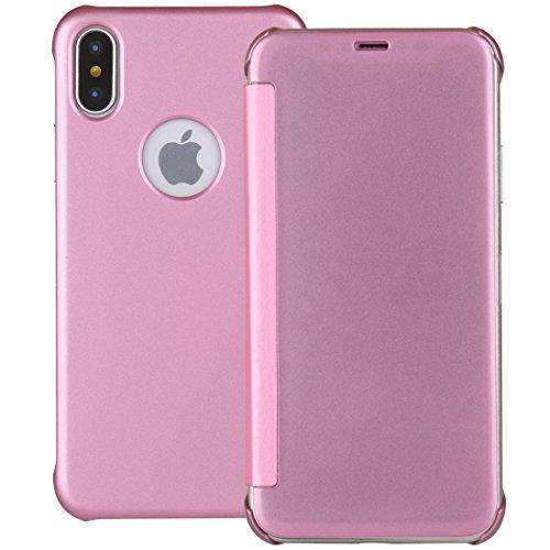 GHC Cases & Covers, Für iPhone X UV-Art PC + PVC hohe Transparenz Matt Horizontale Flip Ledertasche ( Color : Pink - Handy Speck Brieftasche