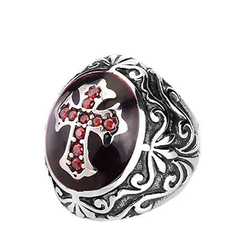 KnBoB Edelstahl Herren Ring Zirkonia Kreuz Opal Silber Punk Herrenring Freundschaftsringe Silber Größe 57 (18.1) (Edelstein-halskette Schwert)