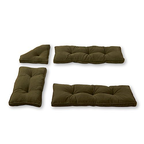 Greendale Home Fashions Cherokee Solid Microfiber 4-Piece Nook Cushion Set, Sage Green by Greendale Home Fashions (Cherokee Green Sage)