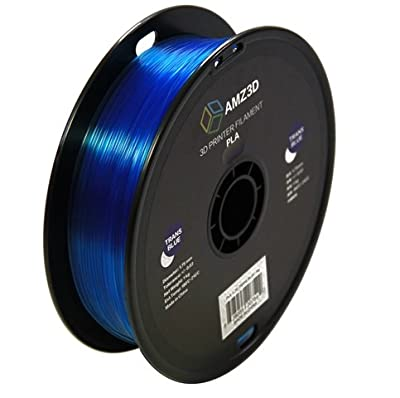 1.75mm Transparent Blue PLA 3D Printer Filament - 1kg Spool (2.2 lbs) - Dimensional Accuracy +/- 0.03mm