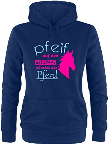 EZYshirt® Pfeif auf den Prinzen ich nehm das Pferd Damen Hoodie Navy/Pink/Hellbl