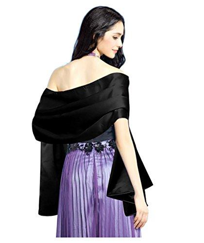 7ccacaf37561 TOOKY Women Soft Satin Evening Scarves Wedding Bridal Cape Shawl Wraps  Stole (Black)(