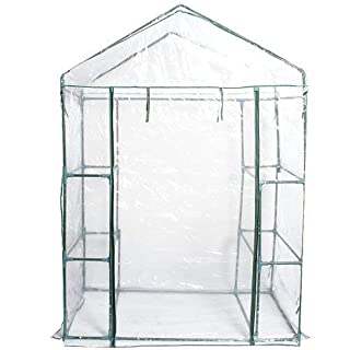 FDS Outdoor Garden Compact Walk In Greenhouse 4 Shelves Heavy Duty Frame Reinforced Cover