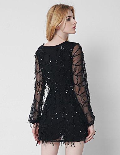 M-Queen Femmes Combishort Paillettes Bohême Mini Robe de Plage Clubwear Overall Rompers Jumpsuit Court Shorts Playsuit Noir