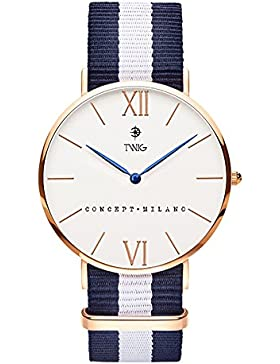 Armbanduhr TWIG Haring Rotgold/Wei§ Navy-Wei§ Jahrgang Klassisch