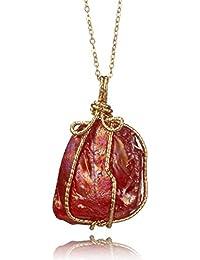 FemNmas New Stylish & Hot Maroon Fancy Party Wear Melted Opal Stone Pendant Necklace For Women & Girls
