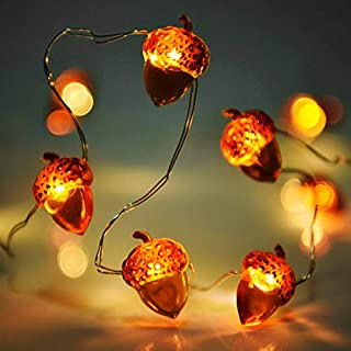 Home Decor Acorn Lights String Battery, Lauva 10ft 40 LEDs Glimmer with Remote Timer for Indoor Covered Outdoor Gardens,Bedroom,Wedding,Christmas Autumn Thanksgiving Decoration (Acorn-Brown)