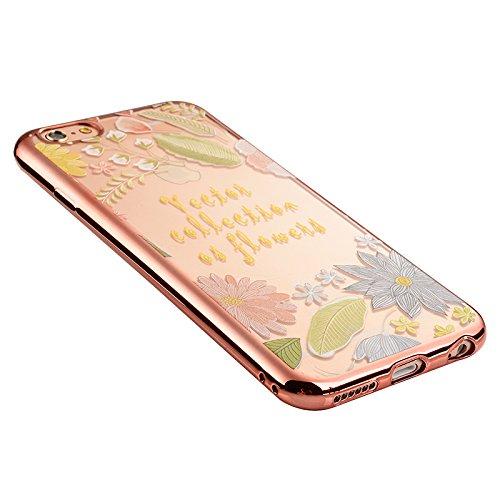 Apple iPhone 5 5G 5S SE Coque, Voguecase TPU avec Absorption de Choc, Etui Silicone Souple, Légère / Ajustement Parfait Coque Shell Housse Cover pour Apple iPhone 5 5G 5S SE (Roses pourpres)+ Gratuit  Feuille chanceuse