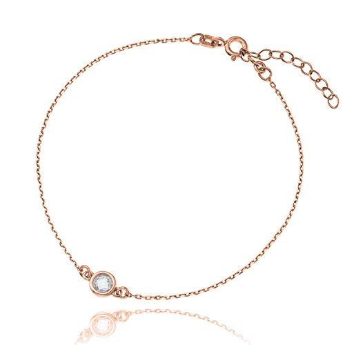 Klar, Satin-gold Anhänger (LillyMarie Damen Armband Sterlingsilber 925 Kristall rosegold längen-verstellbar Satin-Beutel, kleines Geschenk für Freundin)
