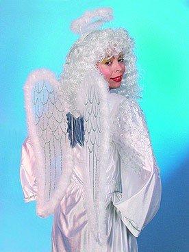 Orlob Flügel Haarreif Heiligenschein Marabu zum Engel Kostüm weiß-silber -