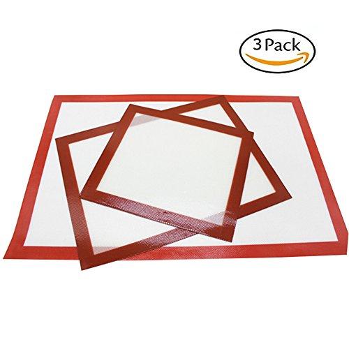 INCHANT Antihaft-Silikon-Backmatten, wiederverwendbare hitzebeständiges Anti-Rutsch-Backblech, große von für Hausfrau Geschenk Kochen, leicht zu reinigen, 3-er Set