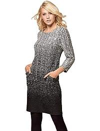 7685e1b0a3 Roman Originals Women Round Neck 3/4 Length Sleeve Ombre Textured Side  Pocket Knee Length Dress - Ladies Work Business Dinner Day…