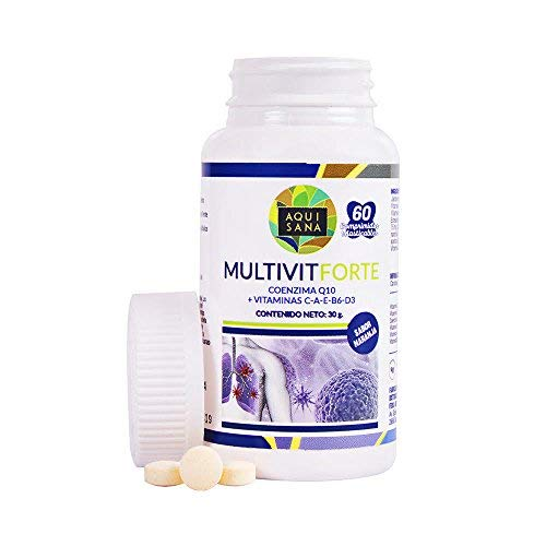 Complejo multivitamínico con vitamina C, E, B6, A, D3 y coenzima Q10 para ayudar a nuestro organismo y sistema inmune – Multivitaminas de alta concentración sabor naranja – 60 comprimidos masticables