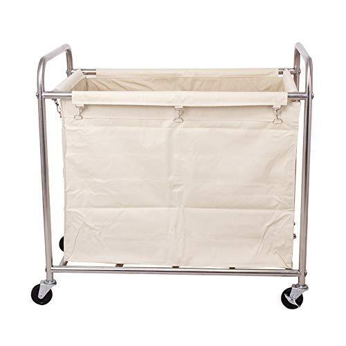 Salon Trolleys Trolley Hochleistungswäschesortierer / -organisator-Rollwagen Mit Rädern - Robuster Stahlrahmen, Abnehmbare Wasserabweisende Oxford-Segeltuchtaschen (Color : Beige)