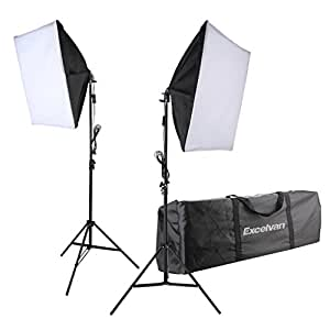 """Excelvan 700W Photo Studio Continuous Softbox Lighting Kit - 2x 24""""X24"""" Softboxes with E27 Light Holder + 2x 80""""Light Stand + 2x 5500K Ligth Bulbs + Portable Bag with UK Plug"""