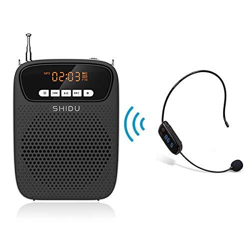 SHIDU Wireless Voice Amplifier, 15 W Bluetooth-Lautsprecher mit FM-Mikrofon-Headset, OLED-Bildschirmaufzeichnung mit FM-Funktion, persönliches tragbares PA-System für Fitnesstrainer und mehr (S278FM)