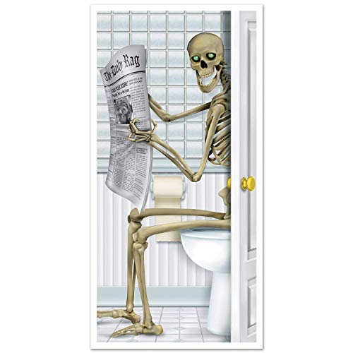 Skelett Restroom Türverkleidung Party Zubehör Halloween Spukhaus Party Rep Skelett Bad Restroom Wand Tür Abdeckung Aufkleber