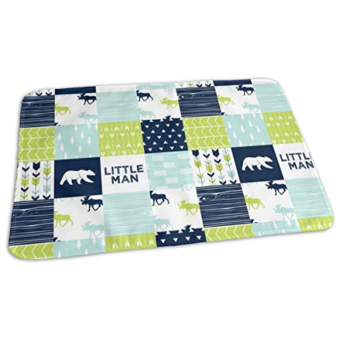 Bear Creek Patchwork Quilt Top Little Man With Navy Bear Baby Portable Reusable Changing Pad Mat 19.7x 27.5 inch -