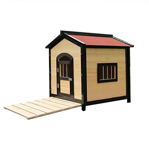 YANQ Im Freien regendichtes Festes Holz Doghouse Teddybär kleines und Mittleres Hundehaus-großer Hundewasserdichter Zwinger-Haustier-Haus im Freien (größe : 75 * 68 * 76cm)
