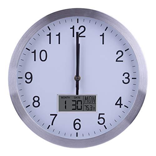 TETAKE Funkuhr - 30CM/12 Zoll Lautlos Wanduhr Funk Geräuschlos Thermometer Kalender Datum Wochentag Funkwanduhr für Küche/Wohnzimmer/Büro/Schlafzimmer