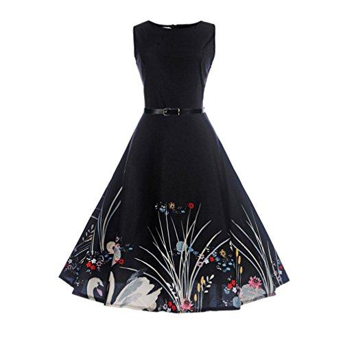 Yesmile vestito vestito donna elegante, retrò audrey hepburn vestito aderente vintage da donna abito da ballo casual senza maniche per la festa serale (nero, xxl)