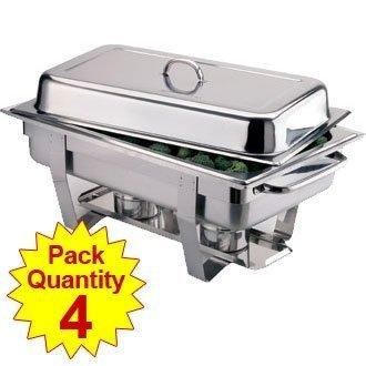 4x Olympia Scheuerstellen Milan Set Vier Pack 317,5x 635x 102mm 18/0Edelstahl Auflaufform Chaffing Dish