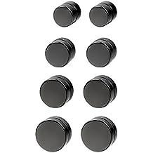 Jewelrywe Joyería Pendientes Iman Non Piercing Zarcillos Negros Aretes Pequeños, Pendientes Studs Redondos Unisex Estilo HipHop (6mm-12mm)