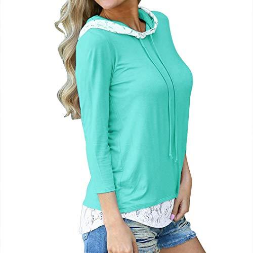 Zarupeng Damen Hoodie Bluse Casual Spitze Stitching Kapuzen-Shirt Langarm T-Shirt Tops Pullover Sweatshirt