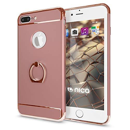 NALIA Ring Handyhülle für iPhone 8 Plus / 7 Plus, Schutz-Hülle mit 360-Grad Fingerhalterung, Dünnes Hard-Case mit Ständer, Slim Back-Cover Etui matt metallisch für Apple i-Phone 7+ / 8+ - Rose Gold