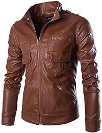 Herren Mantel Lederjacke Langarm Stehkragen Bekleidung Slim Bikerjacke Fit  Kunstleder Motorradjacke Herbst Winter Vintage Mode Jacke 2b8cee03f5