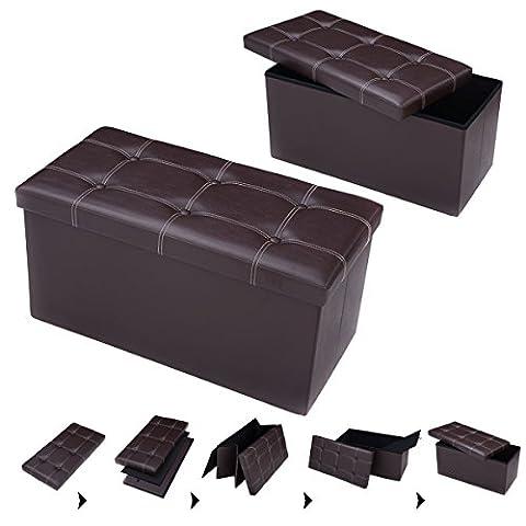 Costway Faux Leather Ottoman Bench Pouffe Storage Toy Box Foot
