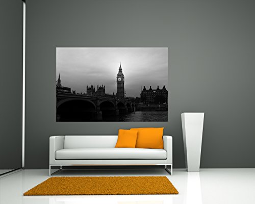 """Bilderdepot24 Fotomural """"Big Ben Londres UK II - negro y blanco"""" 135x90 cm - Papel tejido-no tejido. Fotomurales - Papel pintado - la fabricación made in Germany!"""