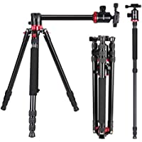Neewer Camera Tripod Monopod with Rotatable Center Column for Panoramic Shooting - Aluminum Alloy 75 inches/191 centimeters, 360 Degree Ball Head for DSLR Camera Video Camcorder up to 26.5 pounds