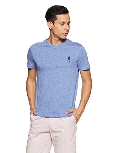 US Polo Association Men's Solid Regular Fit T-Shirt (I638-978-PL_Blue Melange_Large)