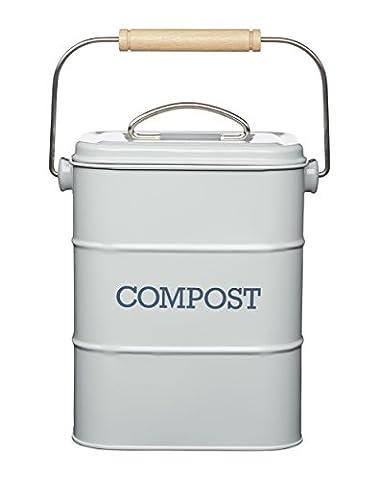 Kitchen Craft Living Nostalgia Edelstahl Komposteimer, 3 Liter, Antikoptik, Grau