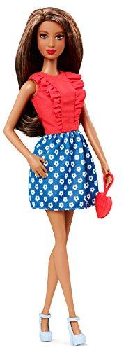 Barbie - CLN68 - Fashionistas - Corsage à Volants Rouge et Jupe Bleu à Fleurs Blanche - Poupée Mannequin 29 cm