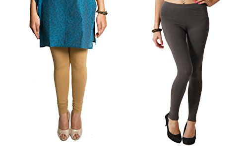 Perfect Collections Women Cotton Legging- Combo of 2 (Color: Beige & Grey, Size: Free Size)