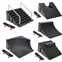 AMOYER Training Games Finger Skating Board with Ramp Parts Track Mini Finger Skateboard